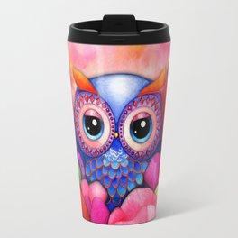 Owl in Poppy Field Travel Mug
