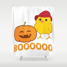 Halloween Funny Pumpkin And Chicken Outfit Shower Curtain