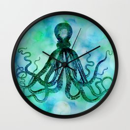 Octopus blue green mixed media underwater artwork Wall Clock