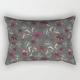 Burgundy flowers on gray Rectangular Pillow