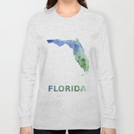 Florida map outline Blue-green watercolor painting Long Sleeve T-shirt