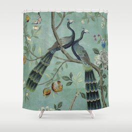 A Teal of Two Birds Chinoiserie Duschvorhang