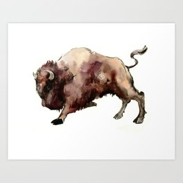Bison, animal animals, bison artwork, bull Art Print