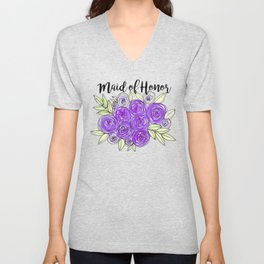 Maid Of Honor Wedding Bridal Purple Violet Lavender Roses Watercolor Unisex V-Neck