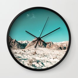 Vintage Picture Desert Snow // Winter Teal Blue Sky Red Rock Canyon Wilderness Park Photograph Wall Clock