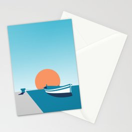 Rowboat sunset Stationery Cards