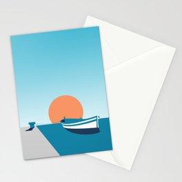 Rowboat sunset Stationery Cards