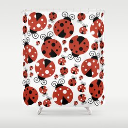 Ladybugs (Ladybirds, Lady Beetles) - Red Black Shower Curtain
