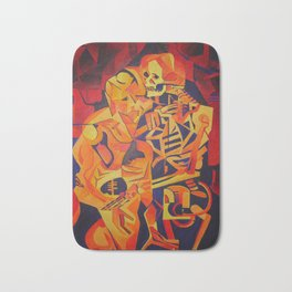 A Skeleton and Corpse Embracing Death Bath Mat