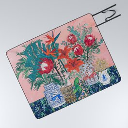 The Domesticated Jungle - Floral Still Life Picnic Blanket