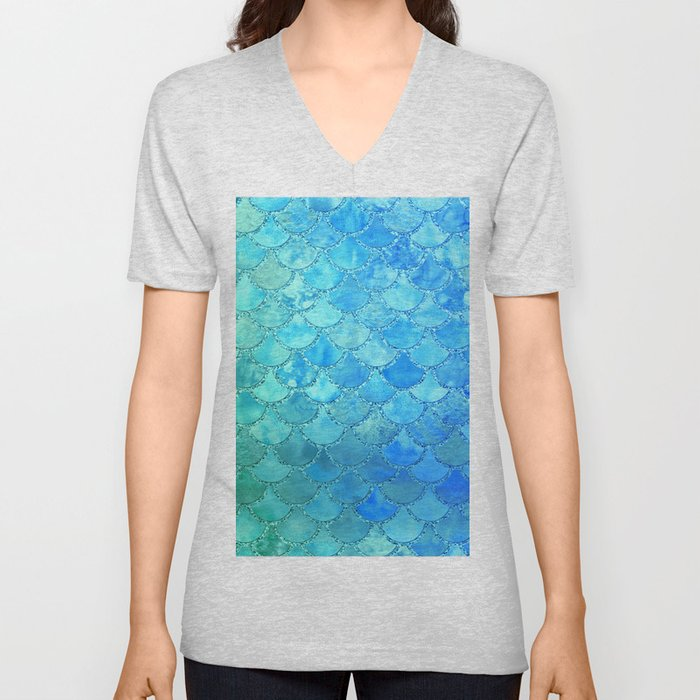 Summer Dream Colorful Trendy Mermaid Scales Unisex V-Neck