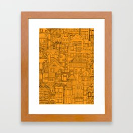 Houses - orange Framed Art Print