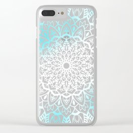 Blue Sky Mandala in Turquoise Blue and White Clear iPhone Case