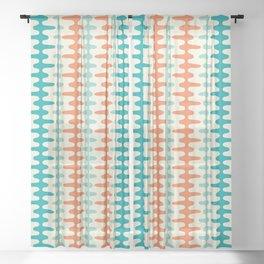 Retro Mid Century Modern Trellis Print Orange and Teal Sheer Curtain
