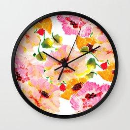 pink orange poppies floral Wall Clock