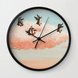 penguins sailing on a cloud toward new skies Wall Clock