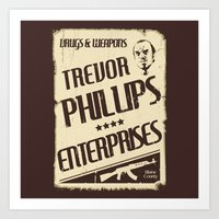 gta Art Prints featuring GTA Trevor Phillips Enterprises by Spyck