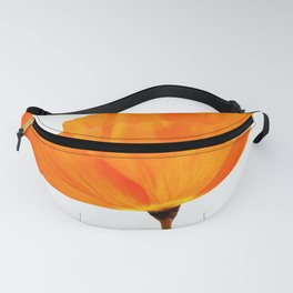 One And Only - Orange Poppy White Background #decor #society6 #buyart Fanny Pack