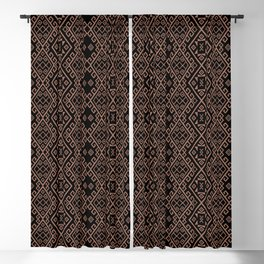 Rose gold tribal pattern, platinum color tracery print, native motifs Blackout Curtain