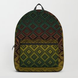 Brown Green Gold Diamond Gradient Pattern Backpack