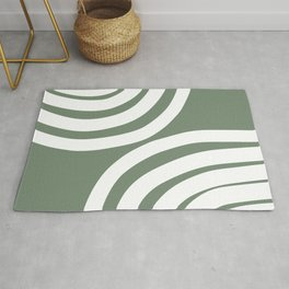 🤍, Abstract Art, Prints Green and White, Stripes, Geometric Art Rug
