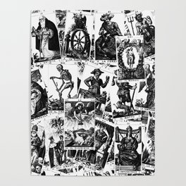 Tarot cards pattern Poster