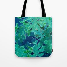 Monstera leaves in Abstract Tote Bag