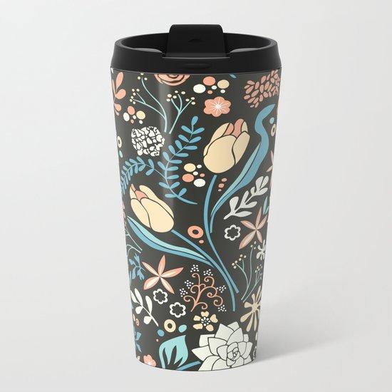 Tulip flowerbed, blue Metal Travel Mug