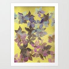 flowers on gold Art Print