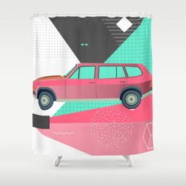 Retro Pink 80s Station Wagon Shower Curtain