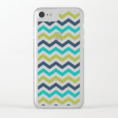 Chevron Navy Lime Turquoise Pattern Clear iPhone Case