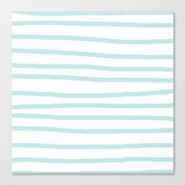 Simply Drawn Stripes Succulent Blue on White Canvas Print