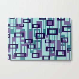Geometric rectangles pattern violet Metal Print