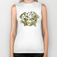 botanical Biker Tanks featuring Botanical Pug by Huebucket