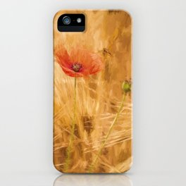 Fiery poppy in a golden cornfield - Poppies Flower Flowers iPhone Case