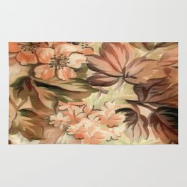 Peachy Floral Abstract Rug
