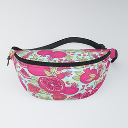 Pattern with pomegranates. Decorative patterns of the garnet fruit on white background . Fanny Pack