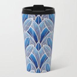 Art nouveau leaf pattern blue Travel Mug