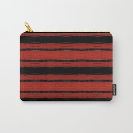 Bold Red and Black Striped Brick Wall Carry-All Pouch