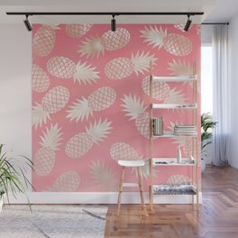 Pink and Coral Pineapple Pattern Wall Mural