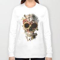skull Long Sleeve T-shirts featuring Garden Skull Light by Ali GULEC