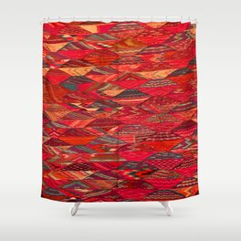 V35 Red Traditional Moroccan Artwork Pattern Shower Curtain