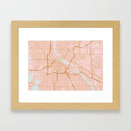 Minneapolis map, Minnesota Framed Art Print
