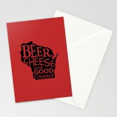 Red and Black Beer, Cheese and Good Company Wisconsin Graphic Stationery Cards
