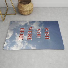 Wish You Were Here Sky Quote Red Rug