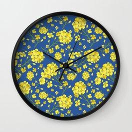Floral Love of Mustard Wall Clock