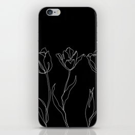 Floral line drawing - Three Tulips Black iPhone Skin