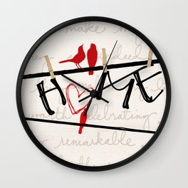 Home Letters Red Bird Clothesline A712 Wall Clock