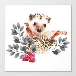 Woodland Nursery - Hedgehogs and wild berries Canvas Print