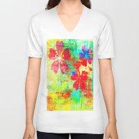 garden V-neck T-shirts featuring Garden  by JuniqueStudio